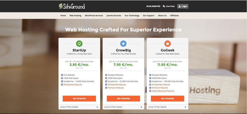 SiteGround wordpress ita