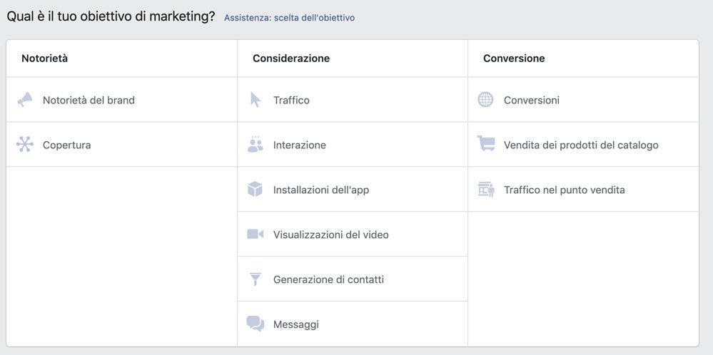 facebook ads obiettivo
